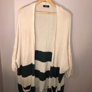 BDG knit green and cream cardigan